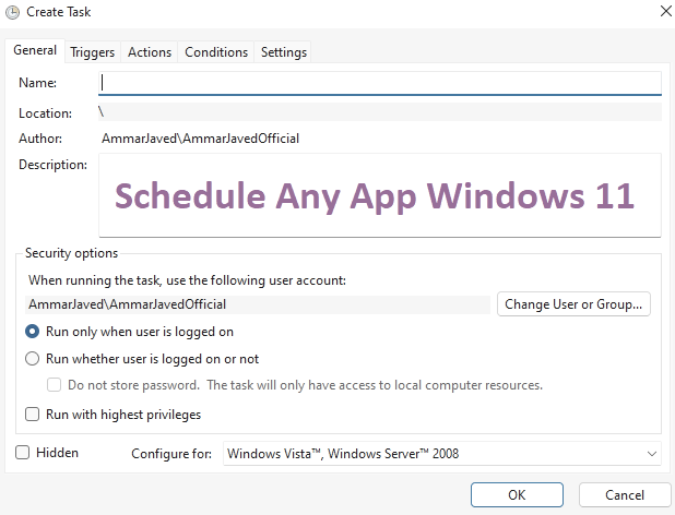 How to Schedule any App Windows 11